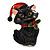 Xmas Christmas Black Enamel Cat Kitty Brooch In Gold Tone - 40mm Tall