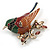 Brown/ Green/ Red Enamel, Crystal Robin/ Bullfinch Bird Brooch In Aged Gold Tone - 55mm Across - view 2
