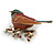 Brown/ Green/ Red Enamel, Crystal Robin/ Bullfinch Bird Brooch In Aged Gold Tone - 55mm Across - view 3