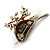 Brown/ Green/ Red Enamel, Crystal Robin/ Bullfinch Bird Brooch In Aged Gold Tone - 55mm Across - view 5