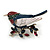Red/ Blue/ White Enamel, Crystal Robin/ Bullfinch Bird Brooch In Silver Tone - 55mm Across