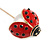 Gold Tone Red Enamel Faux Pearl Ladybird/ Lady Bug Lapel, Hat, Suit, Tuxedo, Collar, Scarf, Coat Stick Brooch Pin - 70mm Long - view 4