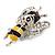 Cute Crystal Enamel Baby Bee Brooch In Silver Tone Metal (Black/ Yellow) - 40mm Tall - view 2