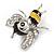 Cute Crystal Enamel Baby Bee Brooch In Silver Tone Metal (Black/ Yellow) - 40mm Tall - view 3