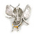 Cute Crystal Enamel Baby Bee Brooch In Silver Tone Metal (Black/ Yellow) - 40mm Tall - view 4