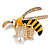 Funky Crystal Enamel Wasp Brooch In Gold Tone Metal (Black/ Yellow) - 40mm Across - view 1