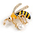 Funky Crystal Enamel Wasp Brooch In Gold Tone Metal (Black/ Yellow) - 40mm Across - view 2