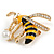 Funky Crystal Enamel Wasp Brooch In Gold Tone Metal (Black/ Yellow) - 40mm Across - view 3