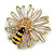 Crystal Bee and Flower Brooch In Gold Tone (Black/ Yellow/ White) - 35mm Diameter - view 2