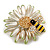 Crystal Bee and Flower Brooch In Gold Tone (Black/ Yellow/ White) - 35mm Diameter - view 3