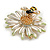 Crystal Bee and Flower Brooch In Gold Tone (Black/ Yellow/ White) - 35mm Diameter - view 4
