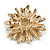 Crystal Bee and Flower Brooch In Gold Tone (Black/ Yellow/ White) - 35mm Diameter - view 5