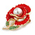 Bright Red Enamel, Faux Pearl, Green Crystal Poppy Brooch In Gold Tone - 45mm Long - view 2