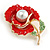 Bright Red Enamel, Faux Pearl, Green Crystal Poppy Brooch In Gold Tone - 45mm Long - view 3