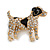 Clear Crystal with Black Enamel Spots Jack Russell Terrier Dog Brooch In Gold Tone Metal - 40mm Across - view 5