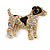Clear Crystal with Black Enamel Spots Jack Russell Terrier Dog Brooch In Gold Tone Metal - 40mm Across - view 3