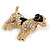 Clear Crystal with Black Enamel Spots Jack Russell Terrier Dog Brooch In Gold Tone Metal - 40mm Across - view 2