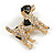 Clear Crystal with Black Enamel Spots Jack Russell Terrier Dog Brooch In Gold Tone Metal - 40mm Across - view 6