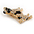 Clear Crystal with Black Enamel Spots Jack Russell Terrier Dog Brooch In Gold Tone Metal - 40mm Across - view 7