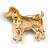 Clear Crystal with Black Enamel Spots Jack Russell Terrier Dog Brooch In Gold Tone Metal - 40mm Across - view 4