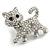 Cute Clear Crystal Kitty/ Kitten/ Cat Brooch In Silver Tone Metal - 33mm Across - view 2