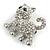 Cute Clear Crystal Kitty/ Kitten/ Cat Brooch In Silver Tone Metal - 33mm Across - view 3