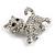 Cute Clear Crystal Kitty/ Kitten/ Cat Brooch In Silver Tone Metal - 33mm Across - view 4