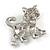 Cute Clear Crystal Kitty/ Kitten/ Cat Brooch In Silver Tone Metal - 33mm Across - view 5