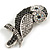 Vintage Inspired Black/ Clear/ Ab Crystal Owl Brooch In Aged Silver Tone - 70mm Long - view 2