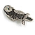 Vintage Inspired Black/ Clear/ Ab Crystal Owl Brooch In Aged Silver Tone - 70mm Long - view 3
