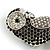 Vintage Inspired Black/ Clear/ Ab Crystal Owl Brooch In Aged Silver Tone - 70mm Long - view 4