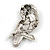 Vintage Inspired Black/ Clear/ Ab Crystal Owl Brooch In Aged Silver Tone - 70mm Long - view 5