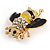 Small Black/ Yellow Enamel Clear Crystal Bee Brooch In Gold Tone - 30mm Across - view 3