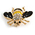 Small Black/ Yellow Enamel Clear Crystal Bee Brooch In Gold Tone - 30mm Across - view 4
