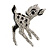 Cute Crystal Baby Fawn/ Young Deer Brooch/ Pendant In Silver Tone Metal - 48mm Tall