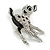 Cute Crystal Baby Fawn/ Young Deer Brooch/ Pendant In Silver Tone Metal - 48mm Tall - view 2