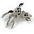 Cute Crystal Baby Fawn/ Young Deer Brooch/ Pendant In Silver Tone Metal - 48mm Tall - view 3