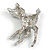 Cute Crystal Baby Fawn/ Young Deer Brooch/ Pendant In Silver Tone Metal - 48mm Tall - view 4