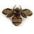 Vintage Inspired Large Statement Crystal Bee Brooch In Aged Gold Tone - 60mm Across - view 2