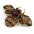 Vintage Inspired Large Statement Crystal Bee Brooch In Aged Gold Tone - 60mm Across - view 3
