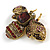 Vintage Inspired Large Statement Crystal Bee Brooch In Aged Gold Tone - 60mm Across - view 4
