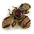 Vintage Inspired Large Statement Crystal Bee Brooch In Aged Gold Tone - 60mm Across