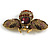 Vintage Inspired Large Statement Crystal Bee Brooch In Aged Gold Tone - 60mm Across - view 5