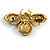 Vintage Inspired Large Statement Crystal Bee Brooch In Aged Gold Tone - 60mm Across - view 6