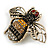 Vintage Inspired Crystal Bee Brooch In Gold Tone - 50mm Across - view 2