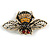 Vintage Inspired Crystal Bee Brooch In Gold Tone - 50mm Across - view 4