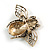 Vintage Inspired Crystal Bee Brooch In Gold Tone - 50mm Across - view 5