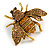 Vintage Inspired Champagne/ Amber Crystal Bee Brooch In Aged Gold Tone Metal - 48mm Across - view 4