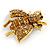 Vintage Inspired Champagne/ Amber Crystal Bee Brooch In Aged Gold Tone Metal - 48mm Across - view 6