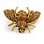 Vintage Inspired Champagne/ Amber Crystal Bee Brooch In Aged Gold Tone Metal - 48mm Across - view 7